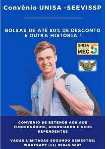 Convênio: Unisa - SEEVISSP - BOLSAS DE ESTUDOS DE ATÉ 80% NA UNIVERSADE SANTO AMARO