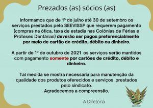 Informação sobre os pagamentos dos serviços no SEEVISSP